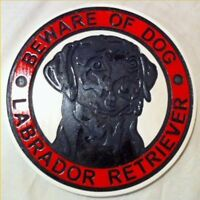 Beware of Dog Black Lab Labrador 3D routed wood sign plaque Custom Carved