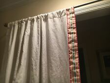 Pottery Barn Kids Linen Cotton Curtain Panels with Grosgrain Ribbon Border.