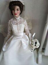"Franklin Mint Jackie 16""Vinyl Doll in Princess Grace Wedding Ensemble + Bouquet"