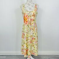 Vintage Y2K Womens Midi Dress Floral Beaded Embellished Romantic Size 14