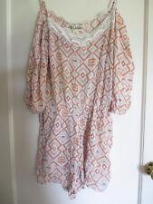 71036cacd9d2 Women s Lagaci Shorts Romper Aztec Pattern Crochet Trim 100% Rayon Size L  NWT