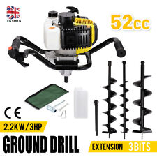 52cc Petrol Earth Auger Ground Drill Fence Post Hole Borer 3 Bits Extension