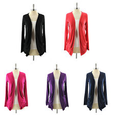 Womens Long Sleeve Cardigan Open Front Formal Casual Multi-Purpose Gathered