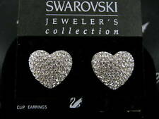 Signed Swarovski Pave' Crystal Heart Clip Earrings New Retired !