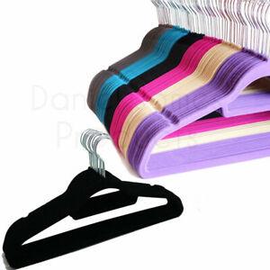 10x Velvet Coat Hangers Clothes Velour Flocked Non Slip Curved Trousers Dresses
