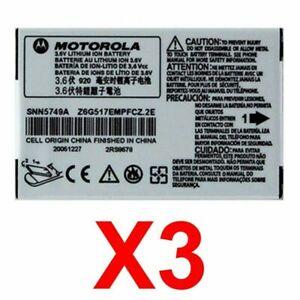 LOT OF 3 OEM MOTOROLA SNN5749A BATTERY FOR C115 C139 C155 V170 V171 V173 V176