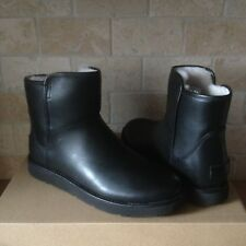 UGG ABREE MINI NERO BLACK LEATHER SHEARLING ZIP ANKLE BOOTS SIZE US 7 WOMENS