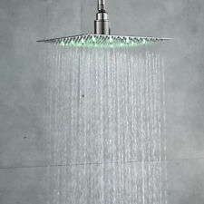 10-inch LED Square Rain Shower Head Over-head  Brushed Nickel Stainless Steel US