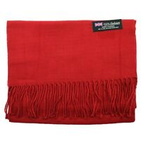 Men's 100% CASHMERE Warm PLAIN Scarf pure solid Dark Red Wool MADE IN SCOTLAND