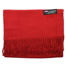 Men's 100% CASHMERE Warm PLAIN Scarf pure solid Dark Red Wool MADE IN SCOTLAND