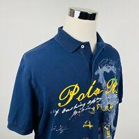 Ralph Lauren Mens Large Polo Shirt Spellout Dragon Graphic Navy Blue Cotton