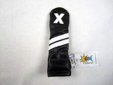 Sunfish leather hybrid golf headcover - black with white stripes !