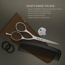 """Suvorna HOOPOE 5"""" Men's Beard & Mustache Scissors with Leather Pouch & Comb."""