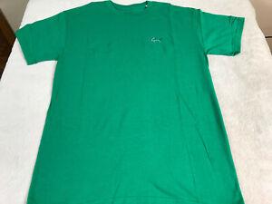 Greg Norman Embroidered Shark T Shirt Green Men's Size Medium 100% Cotton NEW