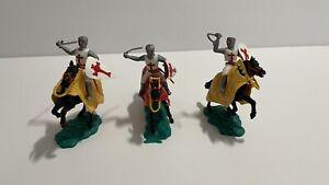 Vintage Timpo Lot of 3 Plastic Knight Crusaders On Horseback 1960's