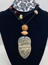 carved agate pendant Multi stone Satellite Bead Necklace
