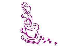 Wandtattoo Kaffee, S-set,SA62,mit herzförmigen Bohnen!!