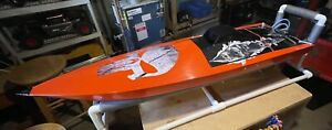 Gas RC Boat, ProVee Race Hull W/2 Stroke Gas Motor And Tuned Exhaust Pipe.ARTR