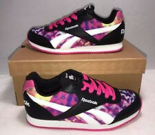 REEBOK GIRLS SIZE 5.5Y CLASSIC RETRO CASUAL ATHLETIC SHOES BLACK PINK PURLE NEW