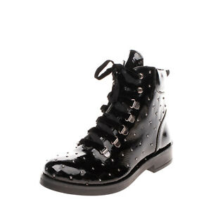 RRP€185 BRAWN'S Leather Ankle Boots Size 38 UK 5 US 8 Studded Varnished Crumpled