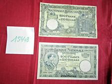 """N° 15448 / 2 billets  """" banque nationale de Belgique """" 100 francs ou 20 Belgas"""