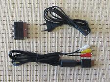 Stromkabel + TV/AV Chinch Kabel + Scart Adapter für Playstation PS1 PS2 PS3 NEU