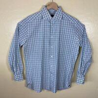 Ermenegildo Zegna Button Up Shirt Mens 16.5 - 42 Green White Plaid Long Sleeve