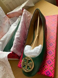 Tory Burch Benton  2.25mm Ballet Leather Flat in green Norwood  US 7.5 or UK 38