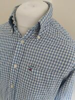 Mens Tommy Hilfiger Houndtooth Shirt Blue Long sleeve Small 42 Chest
