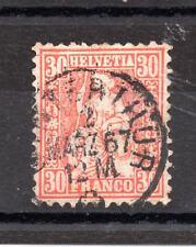 Switzerland (2916) 1862  30 C Vermilion  Used Sg57 Cat  £50