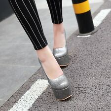 Womens Ladies Fashion Platform High Heel Pumps Court Shoes UK Size 1--12 C364
