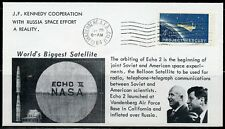 US J.F. KENNEDY COOPERATION W/RUSSIA SPACE AGENCY LAUNCH  COVER ECHO II  1/25/64