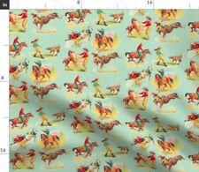 Wild West Horses Western Vintage Kitsch Fabric Printed by Spoonflower BTY