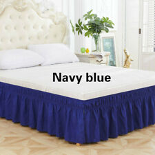Solid Bed Skirt Elastic Dust Ruffle Valance Drop Hotel Bedding Home Room Decor