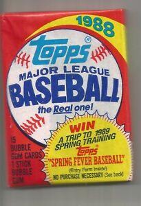1988 Topps baseball 3 unopened unaltered wax packs