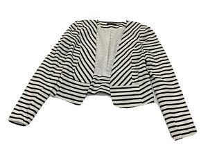 Ladies Size 12 Black & White Striped ALLY Open Blazer Jacket - Good Condition