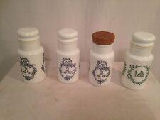 Pot Ancien Blanc Verre Pharmacie Bonbonnière Verre Opale Lot de 4