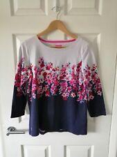 Joules Ladies Size 14 Long Sleeve Harbour Floral Cotton Top