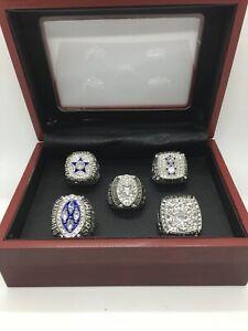 5 Pcs Dallas Cowboys Super Bowl Championship Silver Ring Set with Display Box