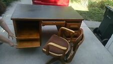 Master Oak Desk and Chair Antique 1900-1970, gold, gorgeous,spring pull out.
