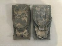 Lot of 2 U.S Army Issue Mag Double Pouches ACU Camo Molle Magazine Ammo USGI