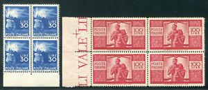 1946 Repubblica serie Democratica 23 val. nuovi centrati SPL MNH ** quartina