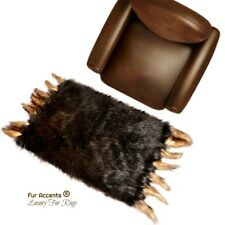 Brown Buffalo Rug - Bearskin Rectangle Faux Fur Area Rug with Wolf Tails