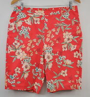 Isaac Mizrahi 24/7 Size 12 Stretch Floral Bermuda Shorts Tropical Red New