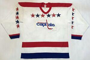 Vintage CCM Washington Capitals NHL Hockey Jersey Men XL White Sewn USA blank