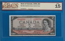 1954 - $2.00 DEVILS FACE THE BANK OF CANADA GRADED BCS F-15