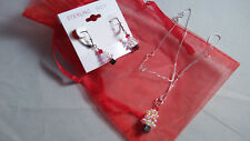 "STER. SILVER 925 -18"" chain & pendant Swaroski crystals/ ear rings - XMAS TREE"