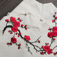 Blossom Flower Applique Clothing Embroidery Patch Sticker Iron On Sew Cloth Red