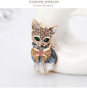 Vintage 50's Style Crystal Rhinestone PUSSY CAT BROOCH Gift Dress Accessory