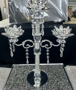 Crushed Diamonds Candle Holder Silver Crystals Filled 3 Tier Romany Bling, Decor